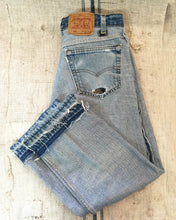"Load image into Gallery viewer, Levi's 501 ""I'm beautiful inside"" Jeans with touch of Boro Textile, Men's waist 33"" (Unisex)_Women's 30/L"