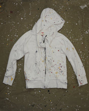 Load image into Gallery viewer, Paint Splatter Zip Front Hood with Built-in Scarf