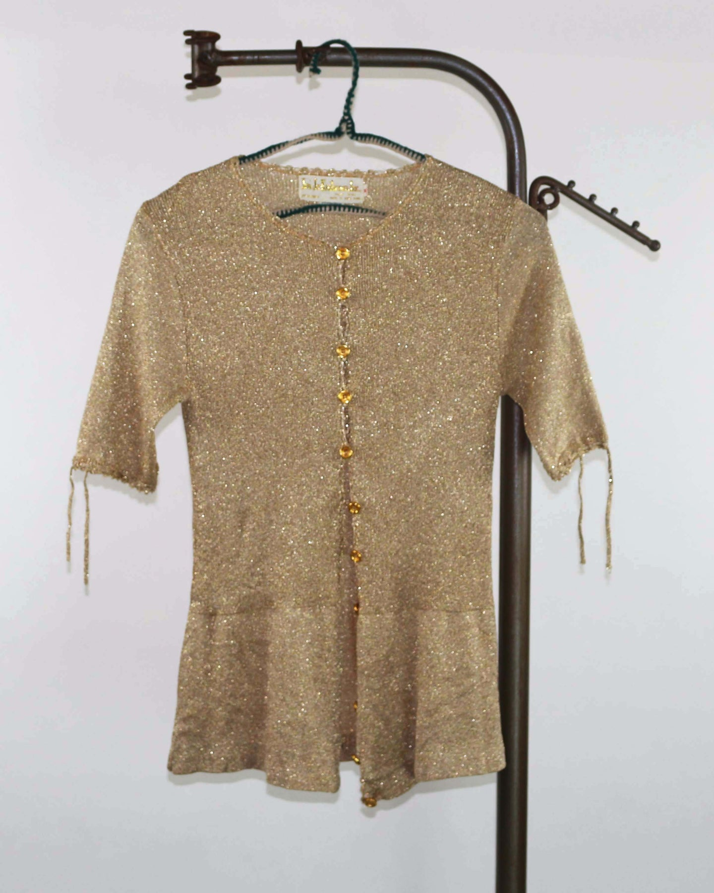 Vintage Gold Metallic Button Front Sweater