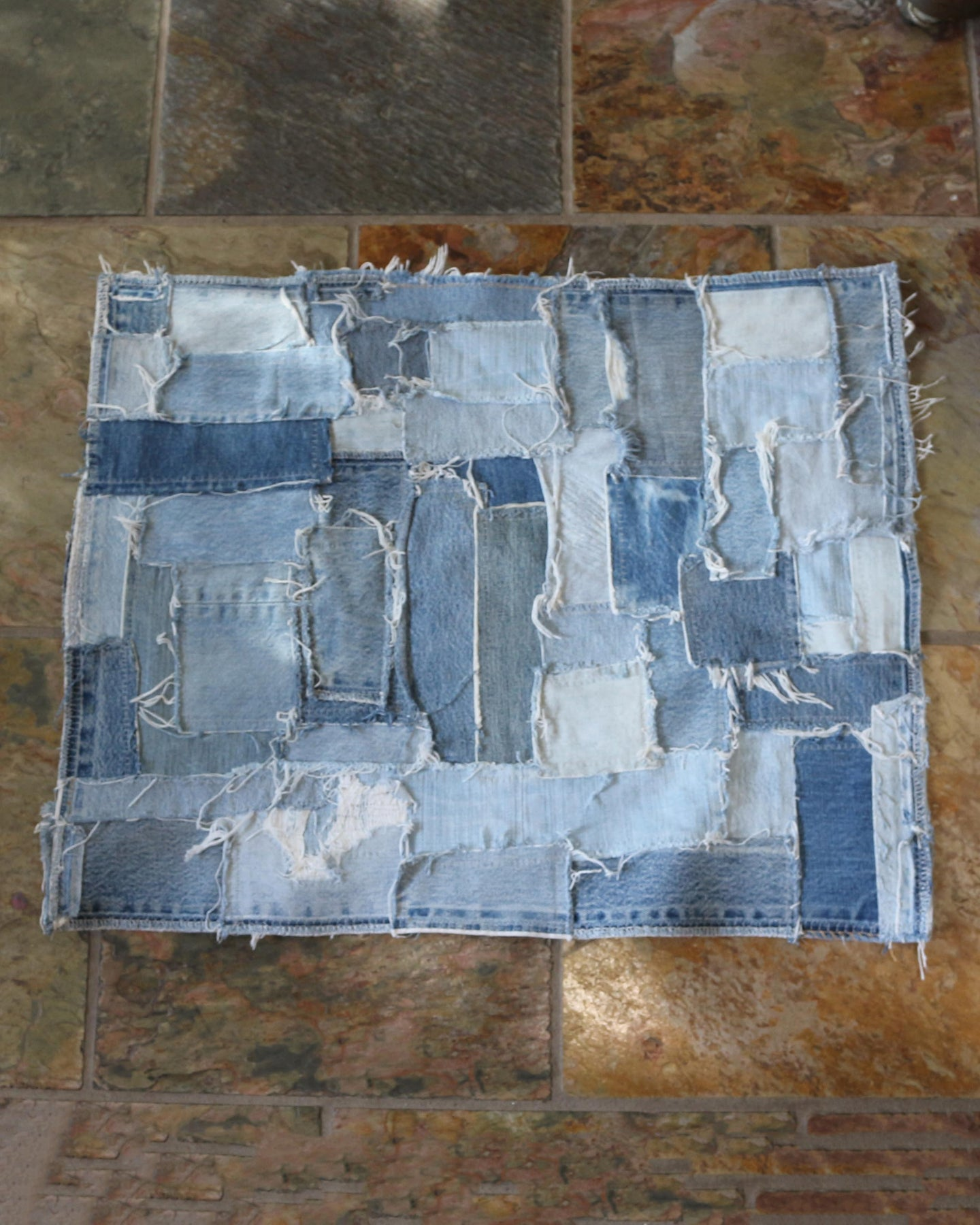 Patch Worked Frayed Denim Mat