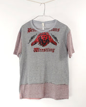 "Load image into Gallery viewer, Mens ""Wrestling Lion"" Hand stitched Collage Tee-M"