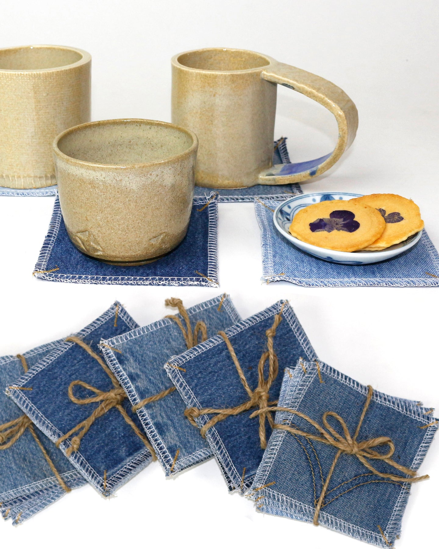 Set of 4 Upcycled Denim Coasters🍵