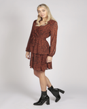 Full Sleeve V Neck Leopard Print Layer Dress In Brown