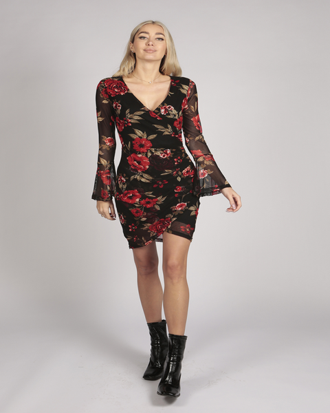 Flute Long Sleeve Floral Lace Wrap Dress in Black