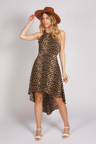 Brown Halter Neck Leopard Print High Low Dress