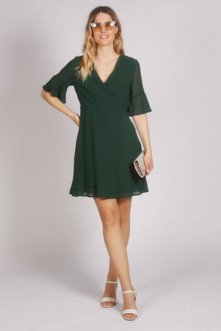 Flute Sleeve Plain Wrap Style Dress in Green