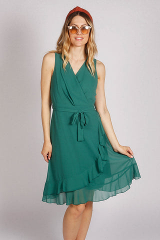 Sleeveless Plain Ruffle Wrap Dress in Green