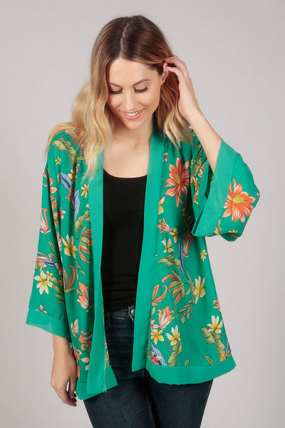 Green Tropical Flower Print Kimono Top