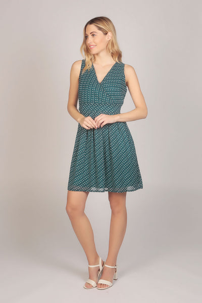 Chiffon Tie Back Pattern Wrap Dress with V Neck in Green