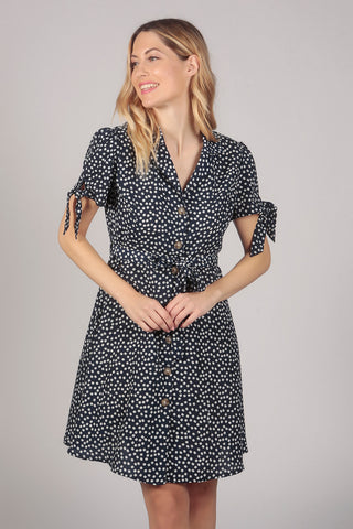 Short Sleeve Floral Pattern Shirt Dress in Blue