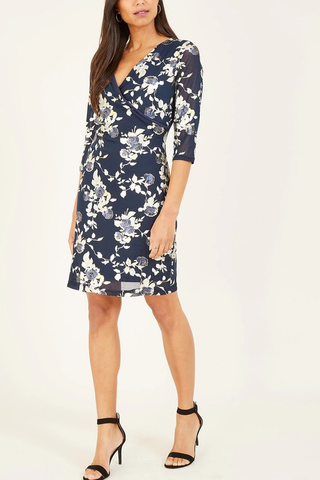 Tenki 3/4 Sleeve Ruched Bodycon Dress in Navy Floral Lace Print