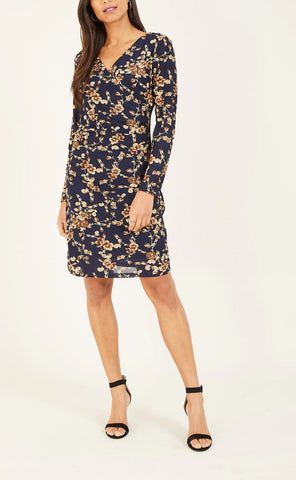 Ruched Bodycon Dress in Navy Floral Print