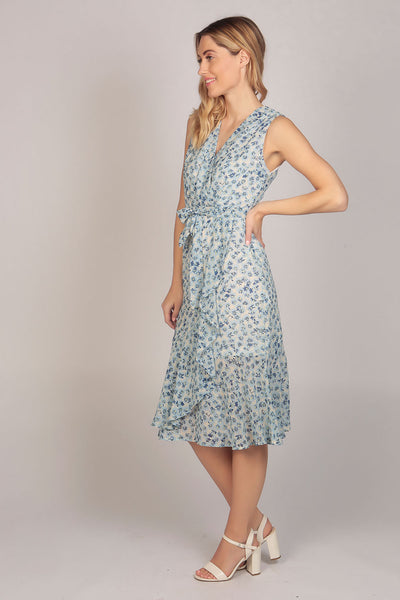 Sleeveless V Neck Floral Ruffle Wrap Midi Dress in  Blue