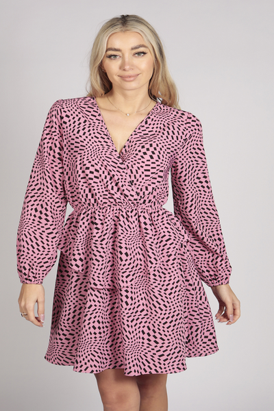 Full Sleeve Patterned Layer Wrap Dress in Pink