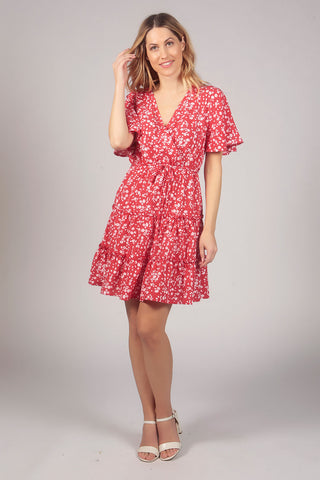 Floral Pattern Tier Ruffle Wrap Dress in Red