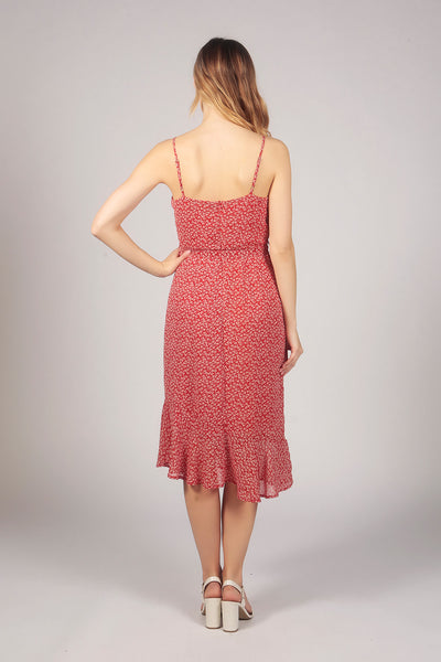 Strappy Floral Pattern Ruffle Midi Dress in Red