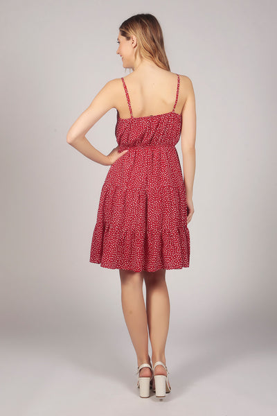 Strappy Water Drop Tier Ruffle Dress in Red