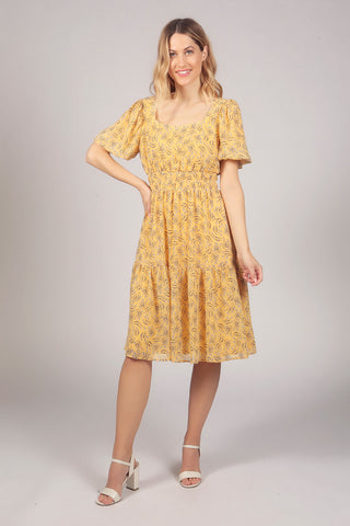 Tulip Flower Balloon Sleeve Layer Tier Dress in Yellow