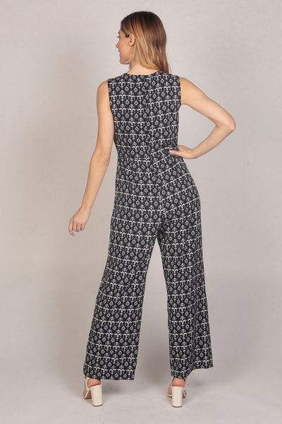 Sleeveless Patterned Tie Knot Jumpsuit in Blue