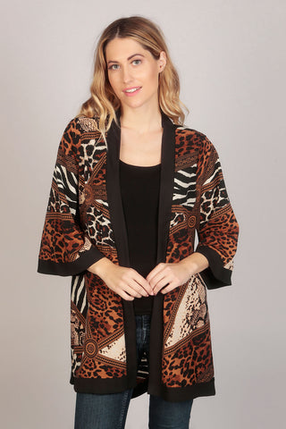 Sleeve Animal Print Summer Kimono Top in Brown