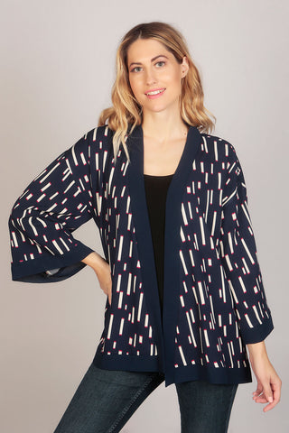 Sleeve Geo Print Retro Summer Kimono Top in Blue