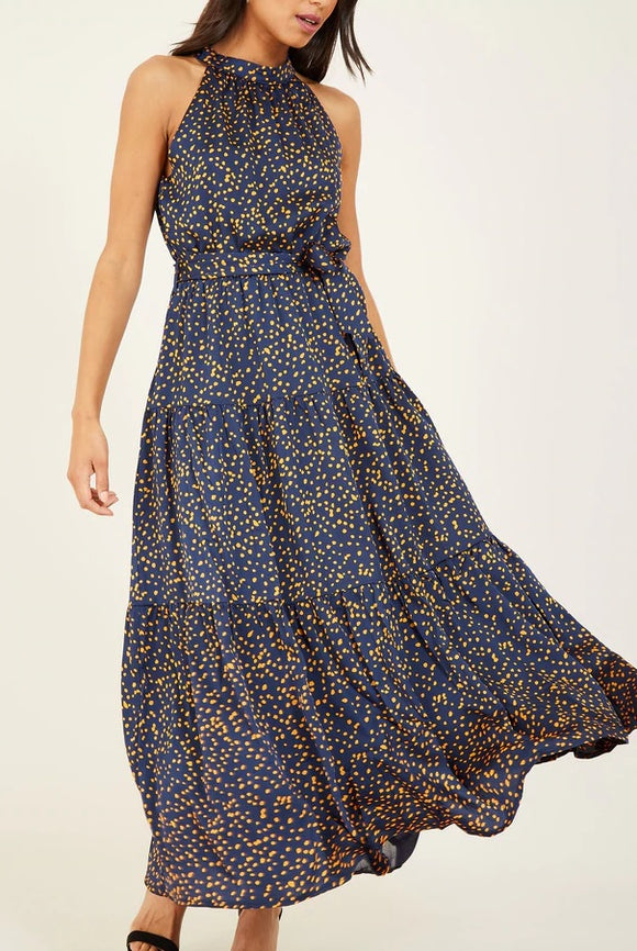 Halter Neck Polka Pattern Layer Satin Maxi Dress in Navy Blue