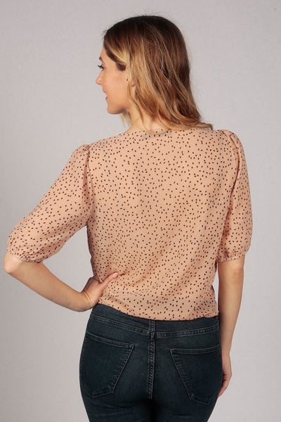 Cream V Neck Polka Dot Tie Knot Buttoned Sheer Crop Top