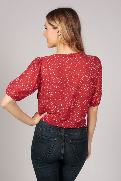 Red V Neck Polka Dot Tie Knot Buttoned Crop Sheer Top
