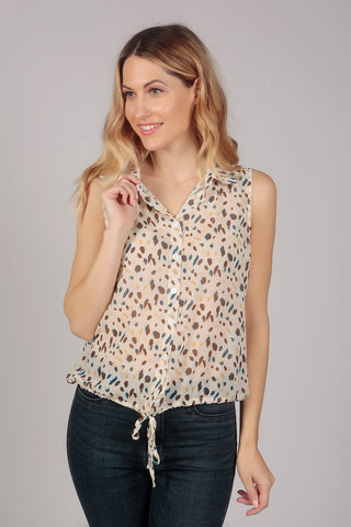 Sleeveless Leopard Pattern Sheer Summer  Crop Top in Cream