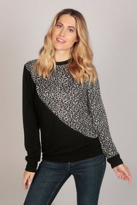Full Sleeve Leopard Two Tone Top
