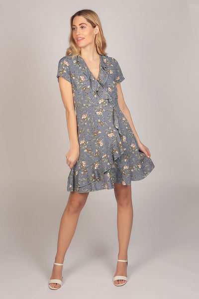 Floral Print Ruffle Wrap Dress in Lavender Blue