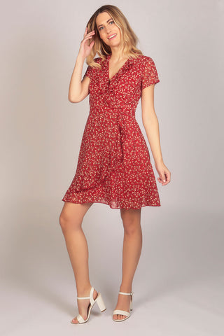Floral Print Ruffle Wrap Dress in Red