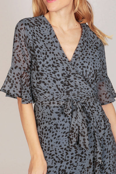 Half Sleeve Leopard Print Ruffle Wrap Dress in Blue