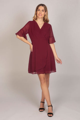 Flute Sleeve Wrap Style Dress in Wine Red