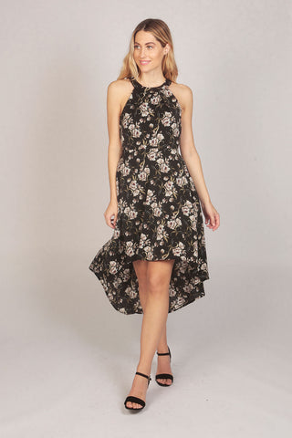 Black Halter Neck Floral Print High Low Dress