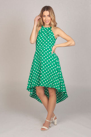 Green Halter Neck Polka Dot High Low Dress