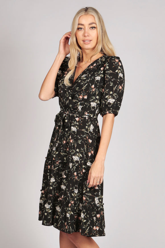 Half Sleeve Floral Ruffle Tier Midi Dress in Black