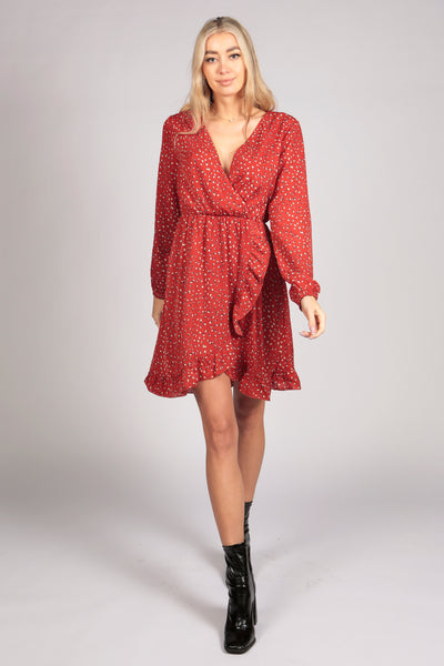 Full Sleeve Pattern Wrap Frill Dress in Red