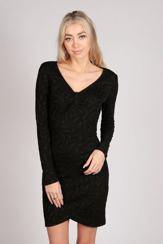 Full Sleeve Plain Emboss Tunic Wrap Dress in Black