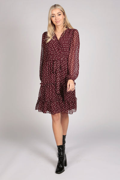 Full Sleeve Floral Tier Wrap Dress in Maroon Red