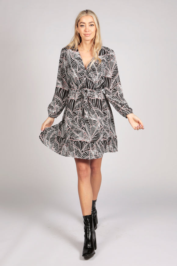 Full Sleeve Leaf Print Ruffle Wrap Dress in Black