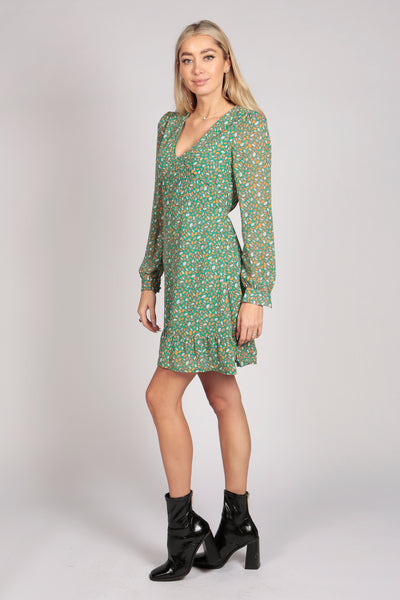 Full Sleeve Leaf Pattern Ruffle Dress in Green
