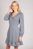 Full Sleeve Ruffle V Neck Pattern Dress in Blue
