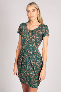 Short Sleeve Patterned Tulip Bodycon Dress In Green