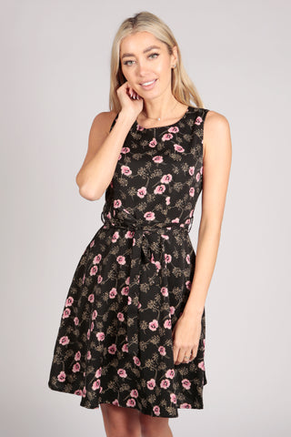 Black Embossed Floral Skater Dress