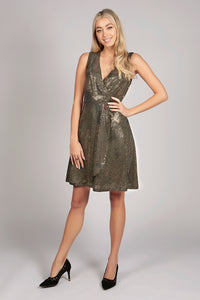 Gold Shimmer Sequin Wrap Party Dress