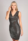Black Silver Sequin Embellished Bodycon Party Dress