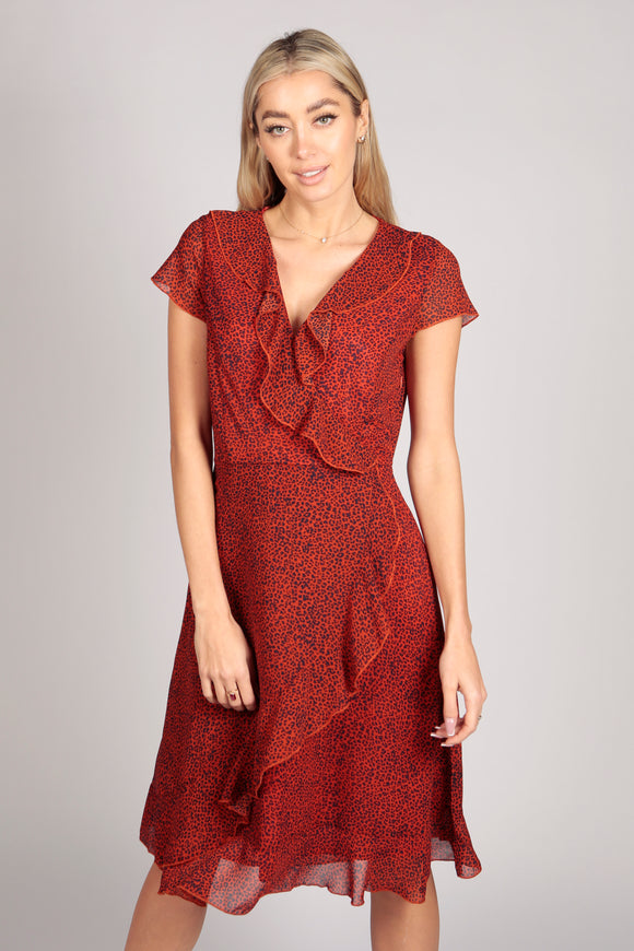Leopard Print Ruffle Wrap Midi Dress in Red