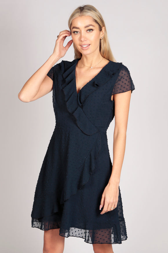 Tenki Short Sleeve Plain Ruffle Wrap Dress in Navy Blue