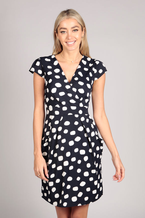 Short Sleeve Polka Dot Tulip Dress in Navy Blue